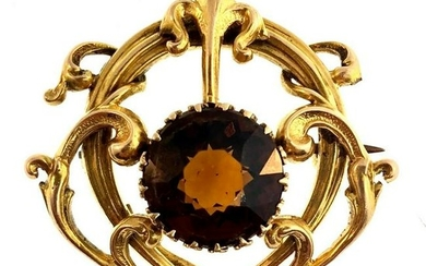 Stunning 14K Yellow Gold and Topaz Lapel Brooch Pin by