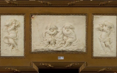"Suite of three carved white marble bas-reliefs depicting ""Putti illustrating spring, autumn and winter"". Presented in the same frame. Period: late 18th - early 19th century (?). (* and **). Size (bas-reliefs) : +/-18,3x10,4cm and 16x24cm."