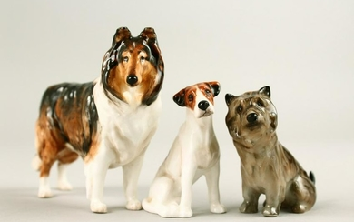 THREE ROYAL DOULTON PORCELAIN DOGS.