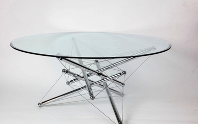 "Coffee table, circular tempered glass top, chamfered edge, ""modern"" legs,..."
