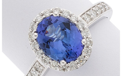 Tanzanite, Diamond, White Gold Ring The ring features an...