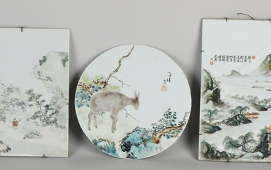 Three Chinese porcelain plaques with various
