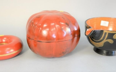 Three Oriental lacquered items, Japanese pouring