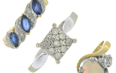Three gold diamond and gem-set rings.Gems include
