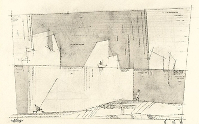 Three people on the shore and ship in the distance, Lyonel Feininger