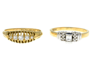 Two 18ct gold diamond rings.