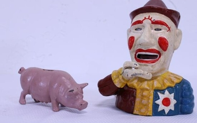 Two Cast Iron Banks - Clown & Pig