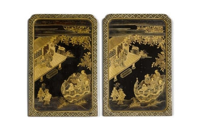 Two Japanese lacquer panels, Edo Period, 19th century