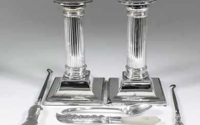 Two Victorian and Edward VII Silver Pillar Candlesticks, and...