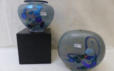 A ball vase and an ovoid blown glass vase with...