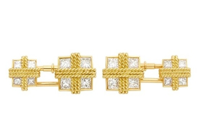 Van Cleef & Arpels Pair of Gold and Diamond Cufflinks