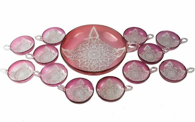 Venetian Lace Enameled Glass Berry Bowl Service for 12