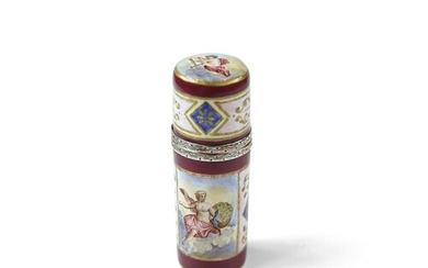 Viennese Silver Gilt and Enamel Scent Bottle - Cylinder shap...