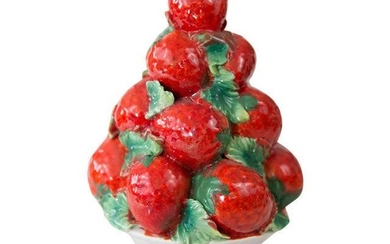 Vintage Italian Majolica Strawberry Topiary