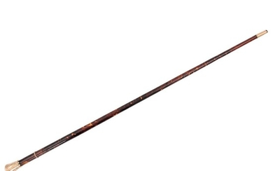 WALKING STICK. FRANCE, CA. 1900. Wooden stick with tortoiseshell plaques. Sgraffito pink gold details.
