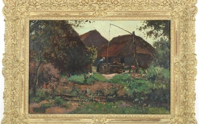Woman at a farm with a well and chickens in the yard