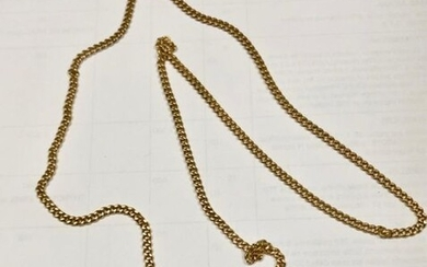 Yellow gold chain 750 thousandths link bracelet, clasp spring ring 19.4 g - Length 65 cm.