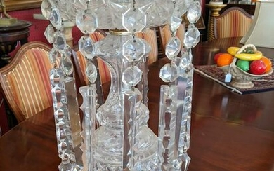 c1950 Czech Louis 15th Style Crystal Prism Table Lamp