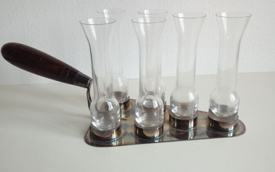 silver trowel with rosewood handle and 6 glasses - .800 silver, Rosewood glass - Italy - Second half 20th century