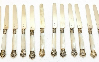 12 French 950 Silver & Mother of Pearl Fish Knives