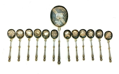 13 Continental Gilt Silver Emulated Mixed Metal Spoons