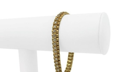 14k Yellow Gold and 2.7ct Diamond Vintage Brushed Link