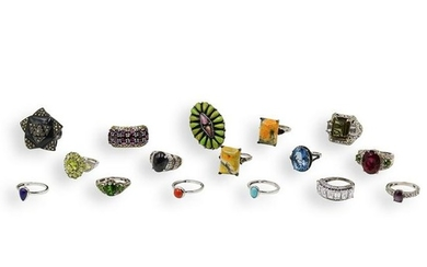 (15 Pc) Assortment of Sterling Silver Rings