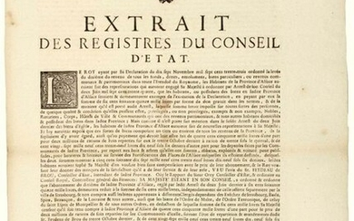 """1734. ALSACE. STRASBOURG. SUBSCRIPTION TO THE TENTH. """"Extract from the Registers of the Council of State"""", held in VERSAILLES, 28 Dec. 1734. """"The Inhabitants of the Province of Alsace would have made representations which would have committed His..."""
