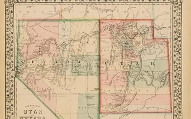1870 Mitchell Map of Nevada and Utah -- County Map of