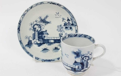 18th century Lowestoft blue and white porcelain cup and saucer, c. 1775, decorated with chinoiserie pattern, painter's mark inside footrim of cup