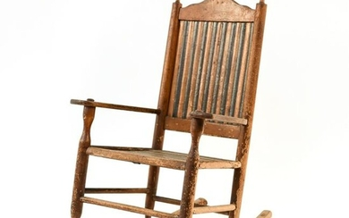 19TH C. PRIMITIVE CHILDS ROCKING CHAIR