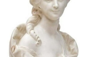 19th C. French White Marble Bust on Sienna Marble Socle