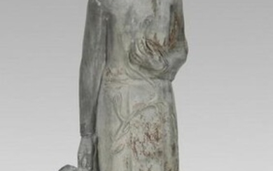 "19th c. English cast lead maiden sculpture, 51""h"