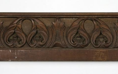 "19th c. carved walnut architectural panel, 47""l"