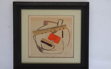 """20th century school. """"Composition"""". Collage signed lower right. 25,5 x 27,5."""