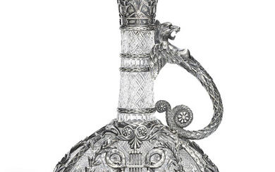 A PARCEL-GILT SILVER-MOUNTED CUT-GLASS DECANTER, MARKED BOLIN, WITH THE WORKMASTER'S MARK OF KONSTANTIN LINKE, MOSCOW, CIRCA 1890