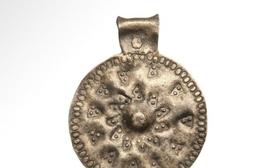Viking Silver Pendant with Punched Decoration, 11th
