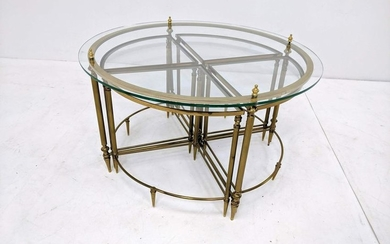5pc Italian Modern Brass & Glass Cocktail Table with fo