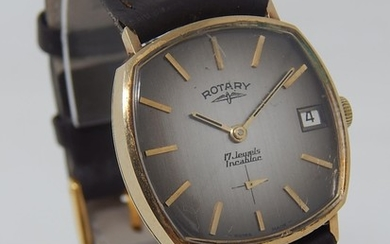 9ct Gold Gentleman's Rotary Swiss 17 jewels wristwatch with ...
