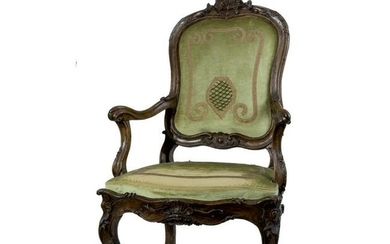 A 18th century Roman walnut armchair
