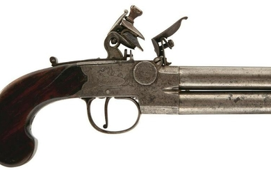 A 54-BORE FLINTLOCK OVER AND UNDER TAP ACTION PISTOL BY