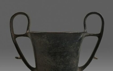 A Boeotian Black-Glazed Kantharos Height 8 1/8 inches.