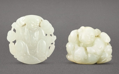 A CELADON JADE 'BOYS AND CAT' GROUP CARVING AND A JADE 'LIU HAI' BUCKLE QING DYNASTY
