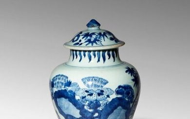 A CHINESE BLUE AND WHITE BALUSTER VASE AND COVER TRANSITIONAL...