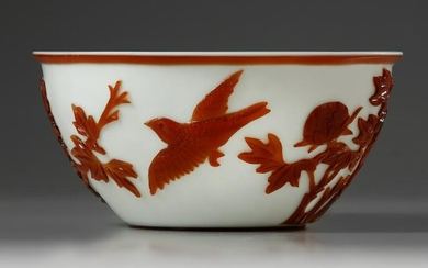A CHINESE CARVED OVERLAY GLASS 'BIRD AND FLOWERS' BOWL