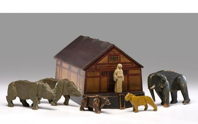 A Carved and Painted Wood Noah's Ark Toy with Figures