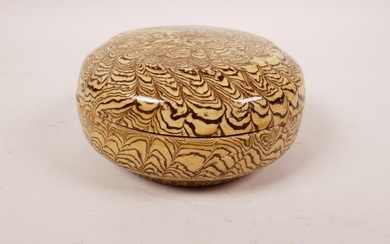 """A Chinese marbled pottery trinket box and cover, 4½"""" diamete..."""