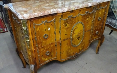 A Continental walnut and marble-top chest, with 2 long drawe...