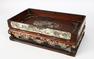 A GOOD 19TH CENTURY CHINESE CARVED HARDWOOD & MOTHER OF