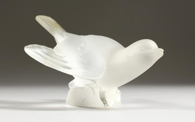 A LALIQUE FROSTED GLASS MODEL OF A BIRD, wings